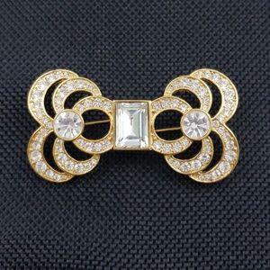 Vintage Monet Art Deco Brooch Pin Gold Rhinestones